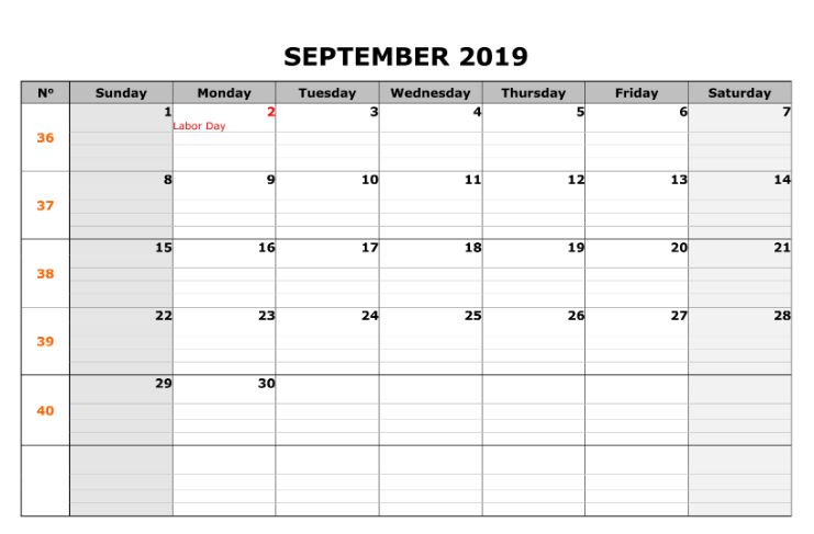 September 2019 Calendar Printable with Holidays
