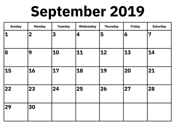 picture relating to Printable September Calendar known as September 2019 Calendar Printable - Free of charge Printable Calendar