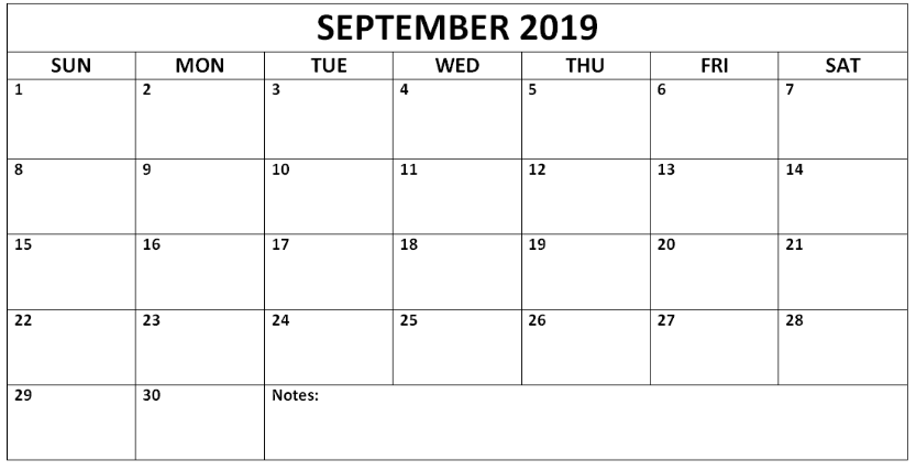 photograph regarding September Printable Calendar called September 2019 Printable Calendar - Cost-free Printable Calendar