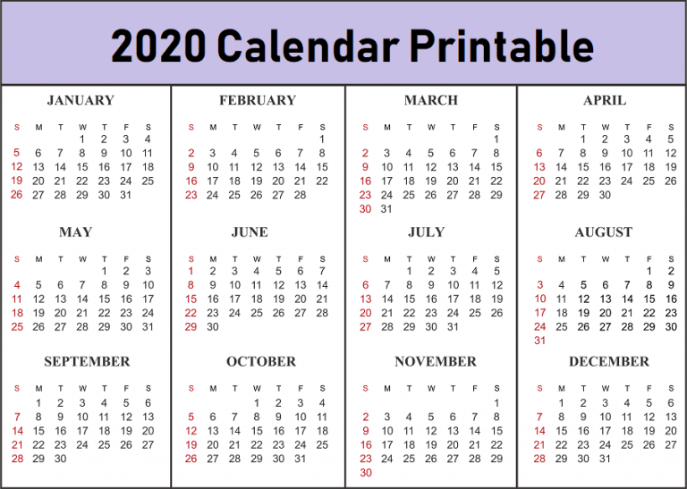 picture about Printable Calendar by Month referred to as Free of charge Blank Every month 2020 Printable Calendar Template
