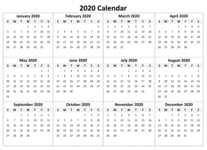 12 Month Yearly 2020 Calendar Template