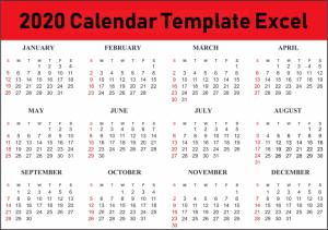 2020 Calendar Template Excel