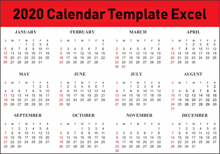 2020 Calendar Template PDF, Word, Excel Format Download