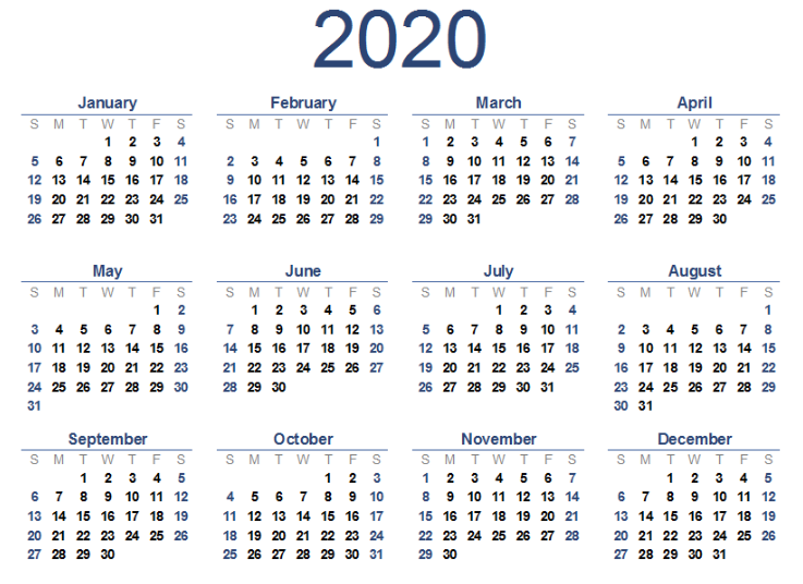 picture relating to Printable 2020 Calendar identify 2020 Calendar Template Printable - No cost Printable Calendar