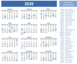 2020 Holidays Calendar Template