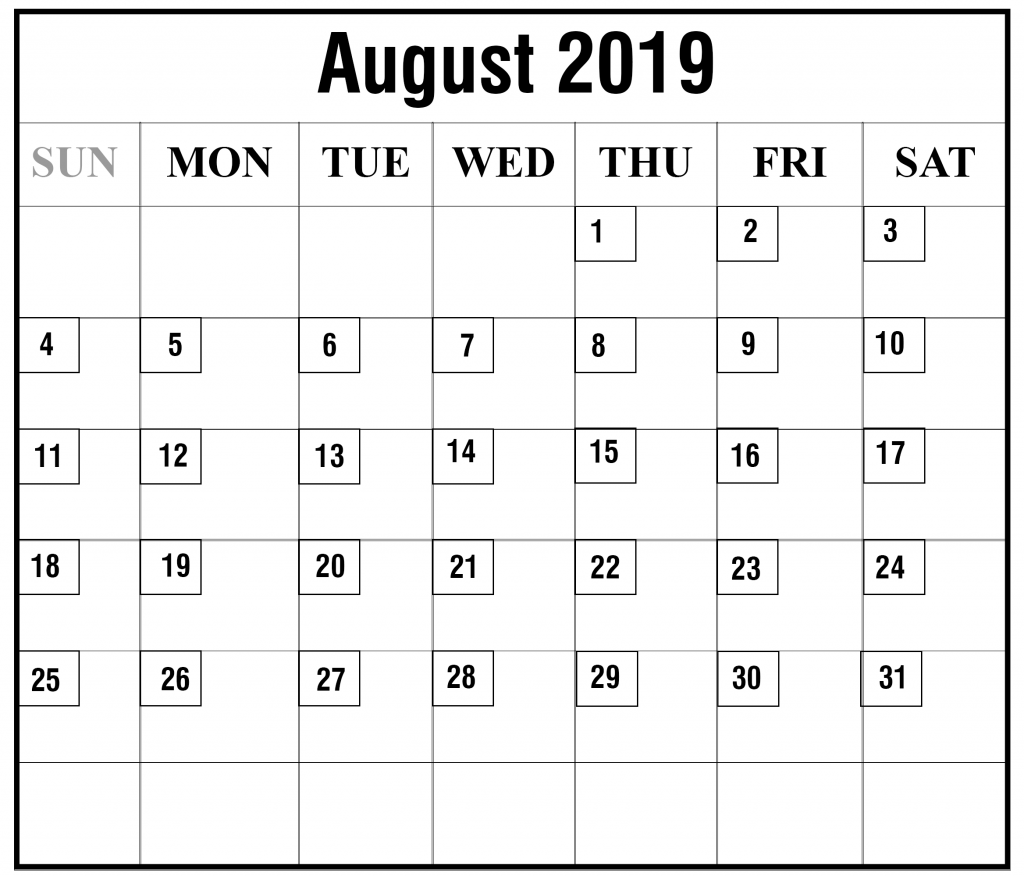 August 2019 Blank Calendar Page