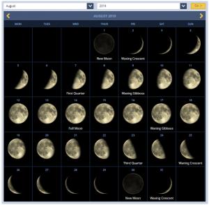 August 2019 Calendar Moon Phases