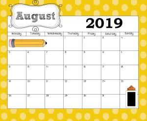 August 2019 Calendar Template for Kids