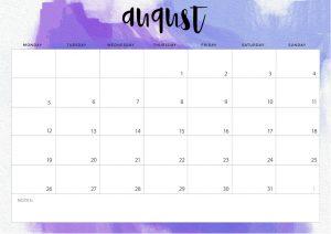 August 2019 Desk Calendar Template