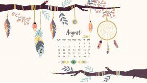August 2019 Desktop Calendar Wallpaper