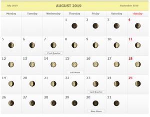 August 2019 Moon Calendar