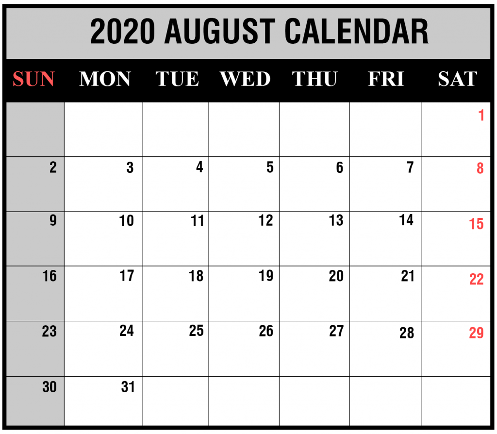 Blank Calendar August 2020.Free Blank Monthly 2020 Printable Calendar Template