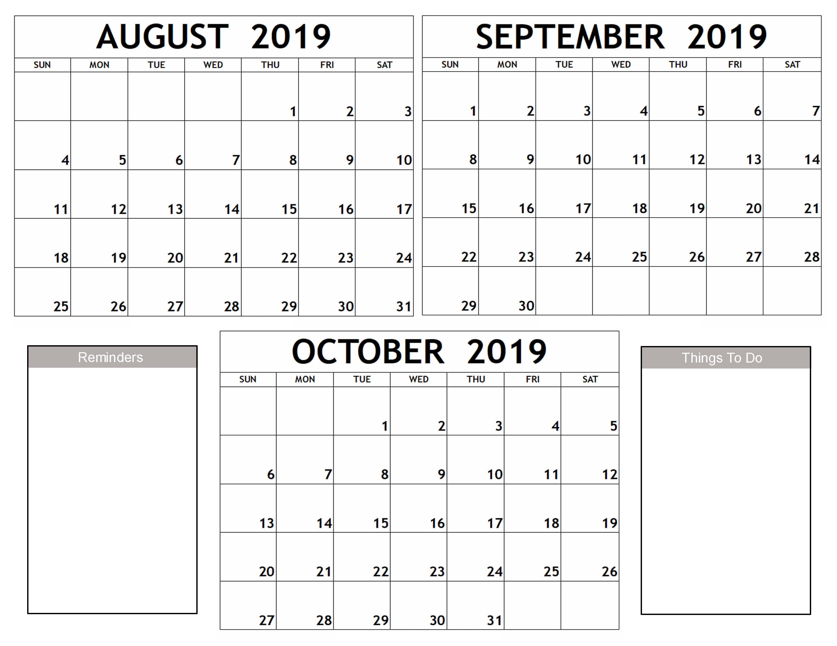 August September October 2019 Calendar Printable