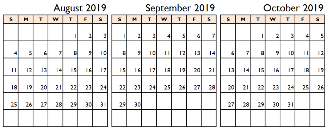 August September October 2019 Calendar Template
