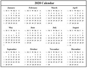 Australia 2020 Printable Calendar Template