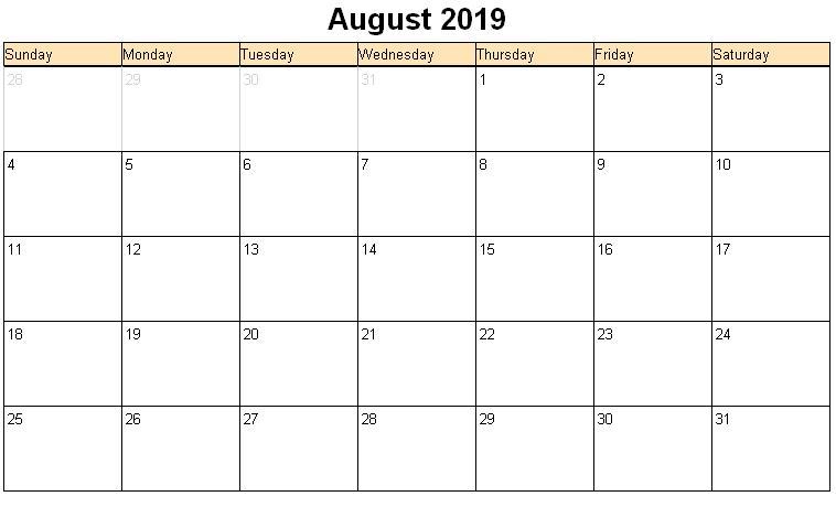 Blank August Calendar 2019 PDF