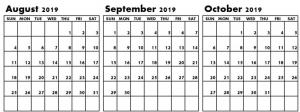 Blank August September October 2019 Calendar