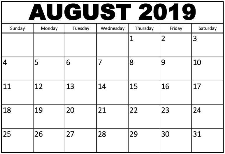 Blank Calendar August 2019
