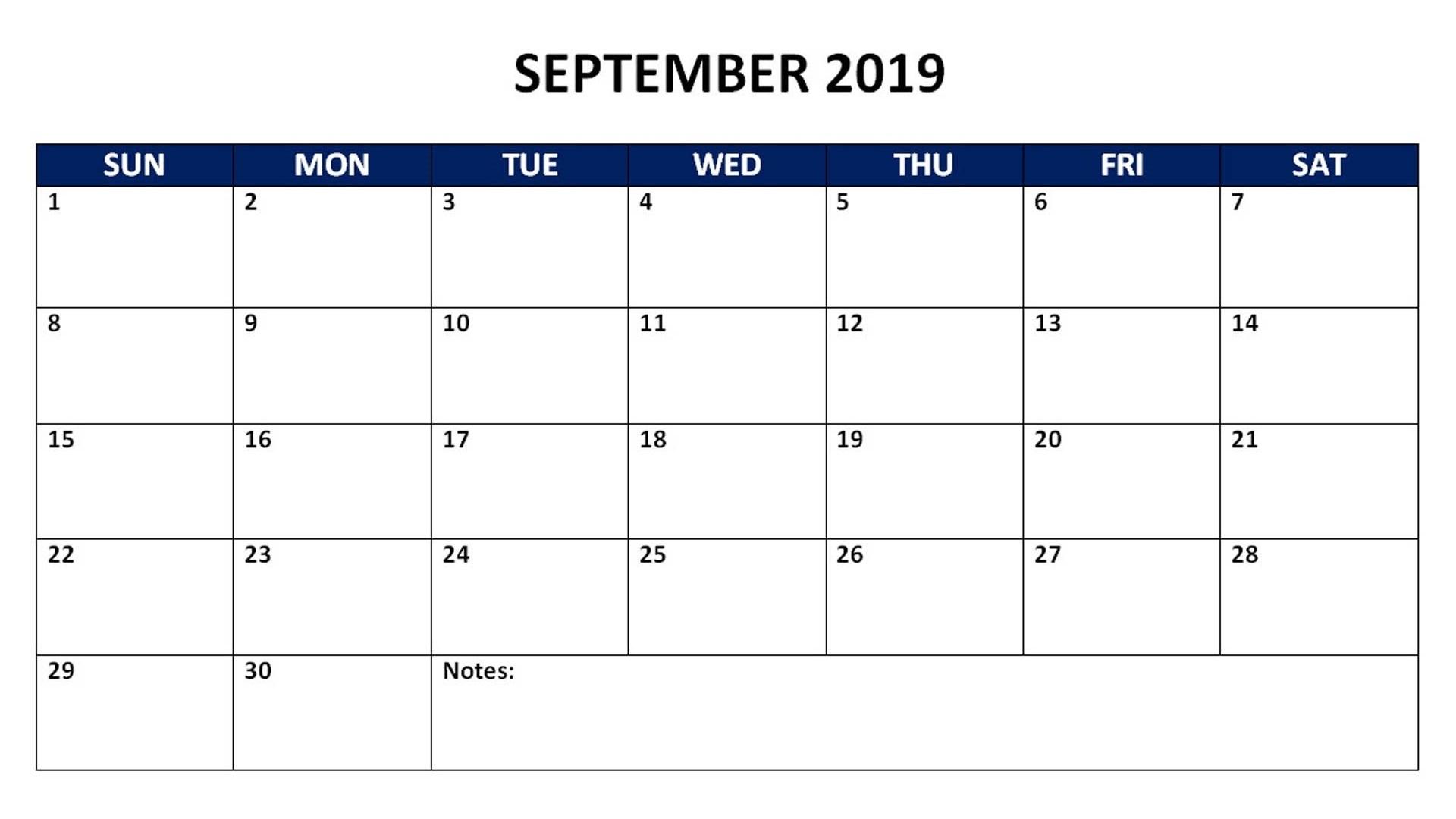 Blank Calendar September 2019 Printable
