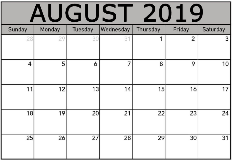 image regarding Free Printable Calendar August named Blank Calendar Template August 2019 - Cost-free Printable