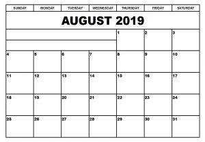 Blank Monthly Calendar August 2019