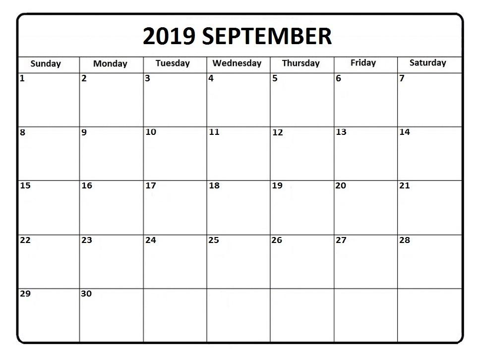 Blank September Calendar 2019