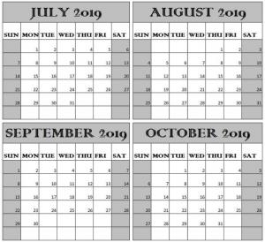 Calendar 2019 July August September and October