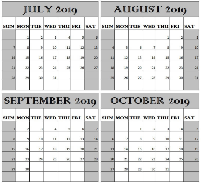 Calendar 2019 July August September and October