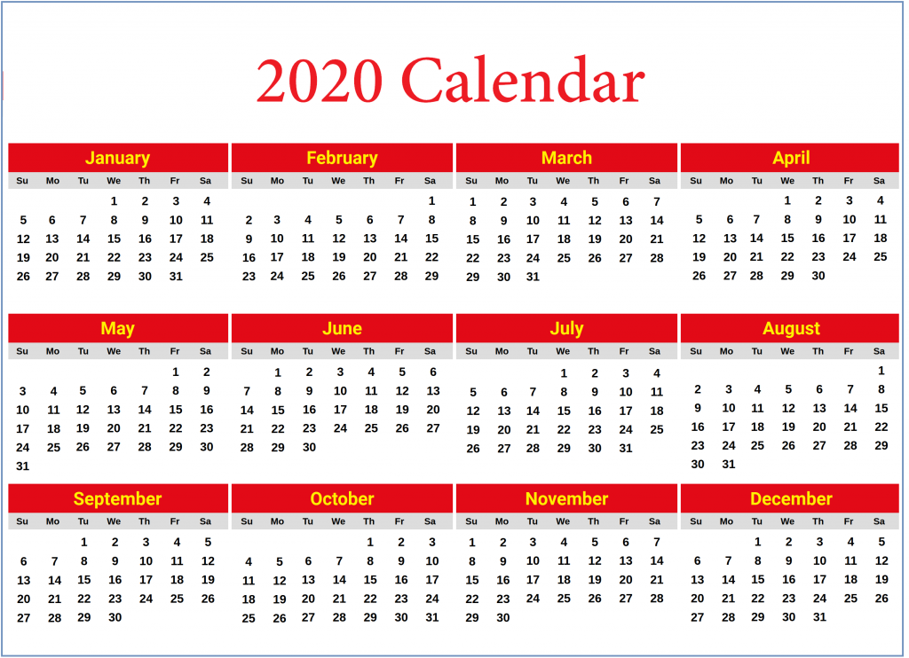 Calendar 2020 Yearly Printable