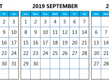 Calendar August September October 2019 Template