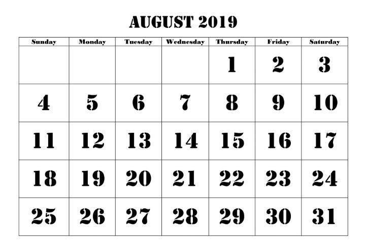 Calendar Template August 2019