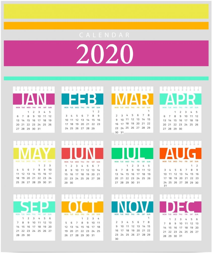 Cute 2020 HD Calendar Wallpaper