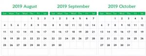 Cute August September 2019 Calendar