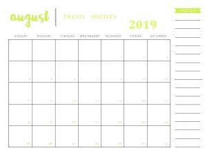 Editable August 2019 Blank Calendar with Notes