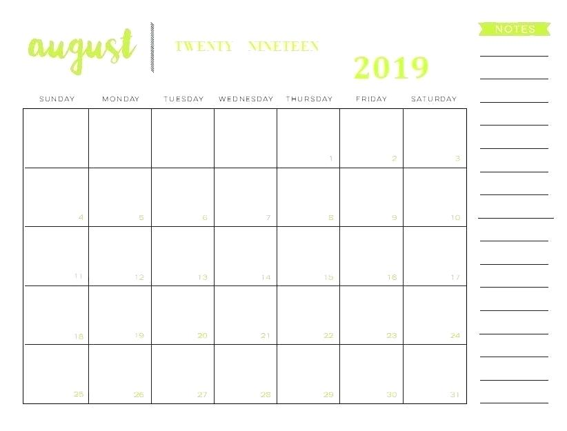 Editable August 2019 Blank Calendar with Notes