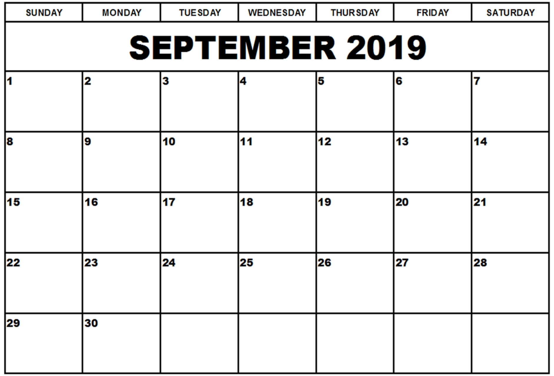 Editable September 2019 Calendar Word