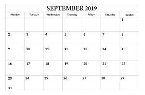 Free Print September 2019 Calendar Template