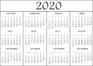Monthly 2020 Printable Calendar