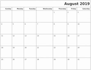 Monthly Calendar Template August 2019