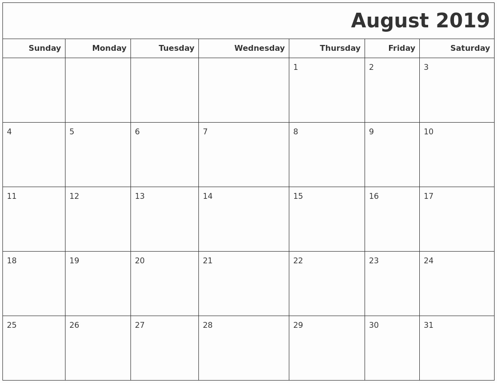Monthly Calendar Template August 2019