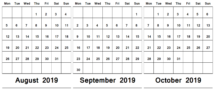 Printable Calendar August September October 2019