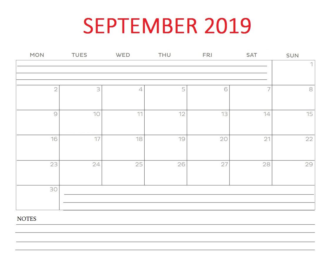 Printable September 2019 Blank Calendar