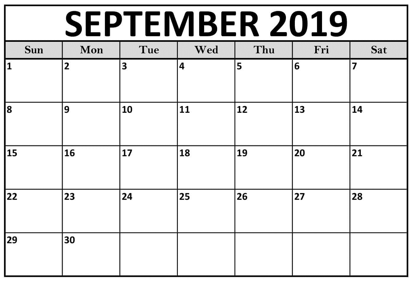 Printable September 2019 Calendar Page