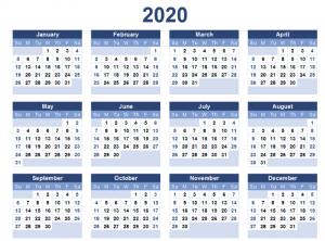 Printable Yearly 2020 Calendar Template