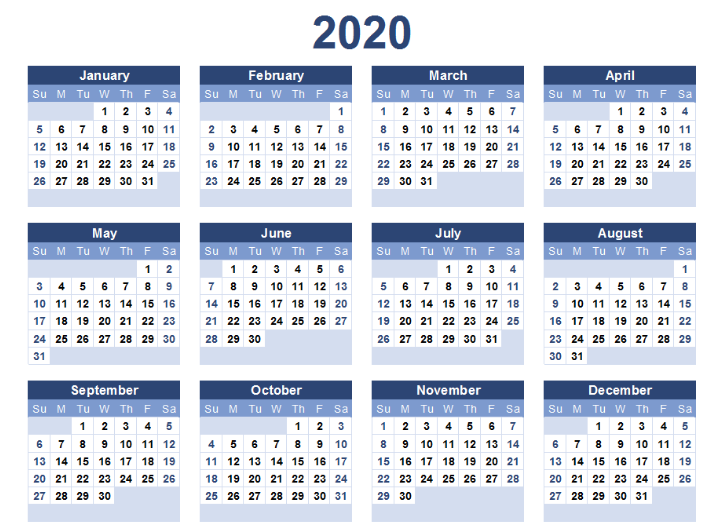Printable Yearly 2020 Calendar Template
