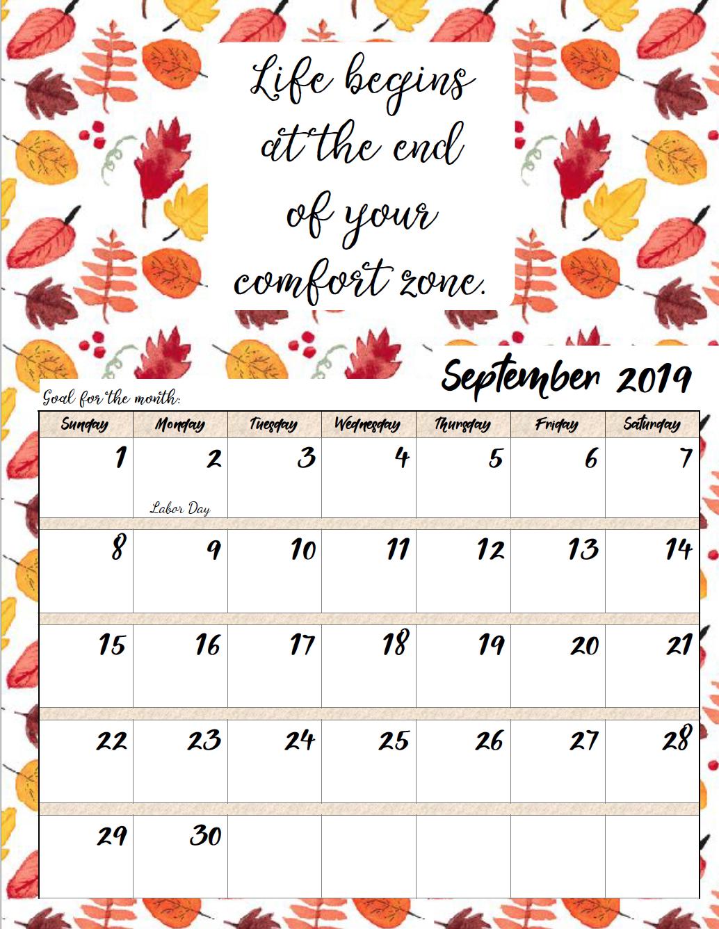 September 2019 Calendar Blank