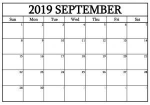 September 2019 Editable Calendar