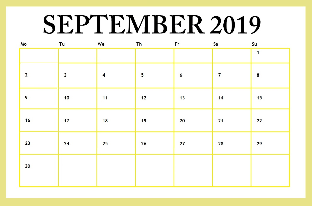 September 2019 Editable Template