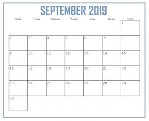September 2019 Personalized Calendar