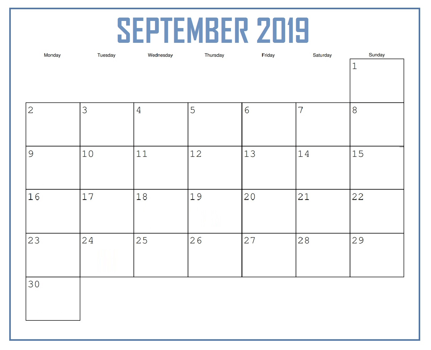 September 2019 Personalized Calendar
